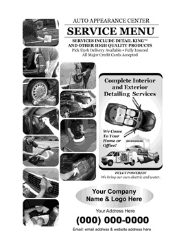 Sample Service Menu for Auto Detailing Businesses