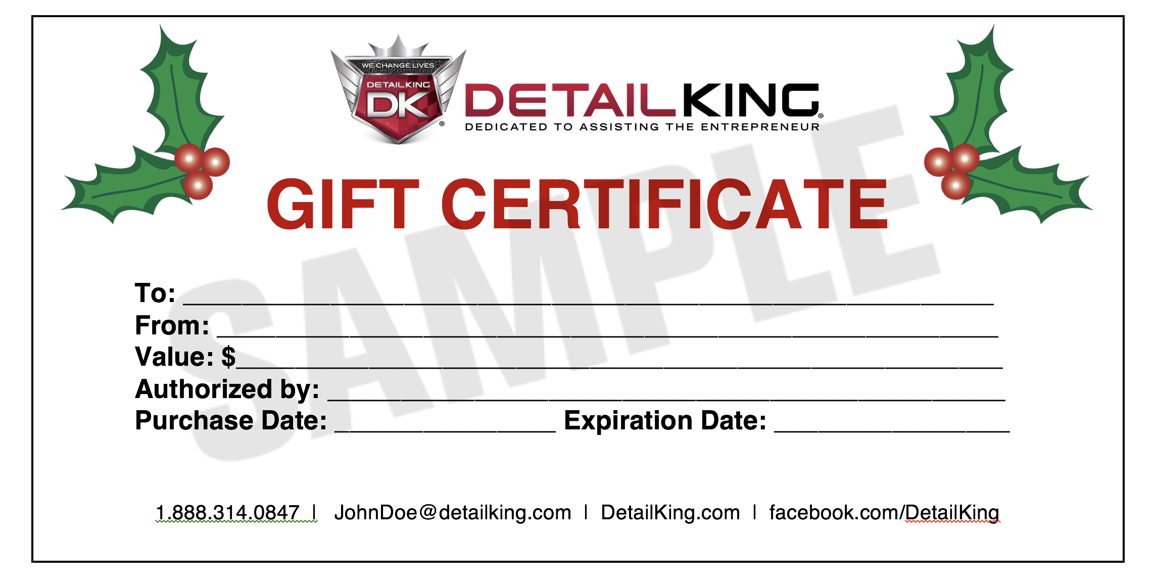 Give your customers a gift for any season auto detailing dksamplexmasgiftcertificicate offering gift certificate yadclub Choice Image